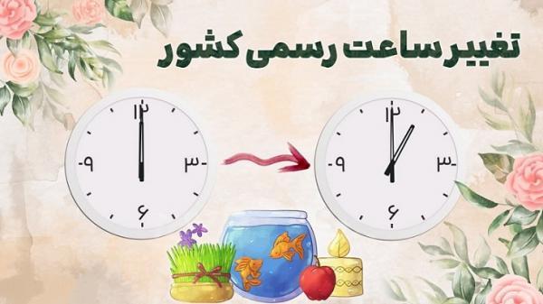 ساعت رسمی کشور یکم فروردین ماه یک ساعت به جلو کشیده می گردد